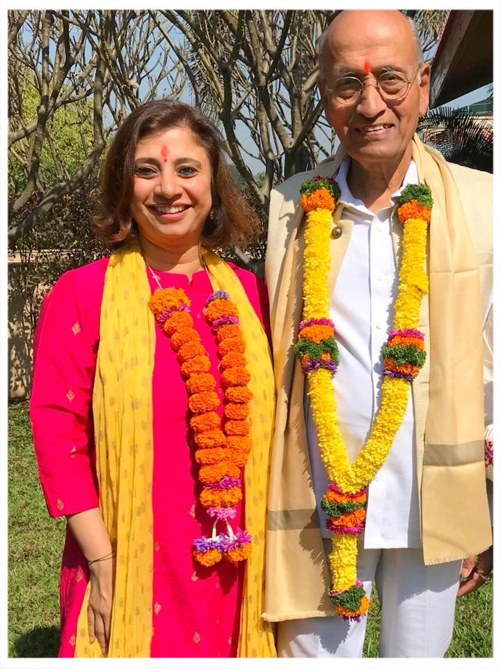 CEO-Founder of NimmiLife with world-renowned  Ayurveda doctor and practitioner, Dr. Vasant Lad, at the graduation ceremony of the Gurukula Program in Pune organized by The Ayurvedic Institute, Albuquerque, NM.